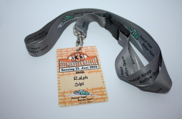 Das Pascal Kapp Rallye Team – Namensschild bzw. Badge